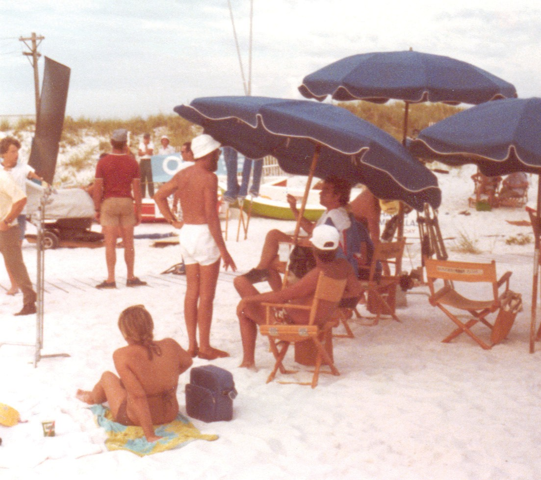 Photos Courtesy Mark Hooprich Above Director Jeannot Szwarc Sits Under An Umbrella In A White