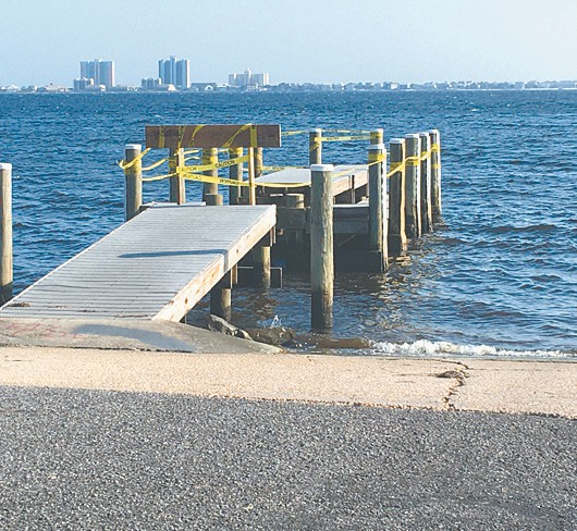 Damage is evident on this pier at Shoreline Park.
