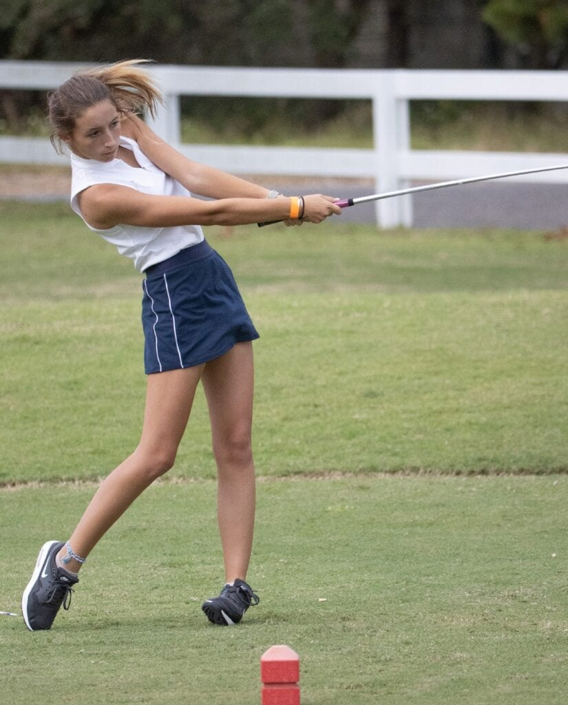 Mia Hobbs recorded a hole-in-one on the second hole of her round last week. GBHS finished second to Washington in the three-team match, wtih Milton finishing third. Submitted Photo
