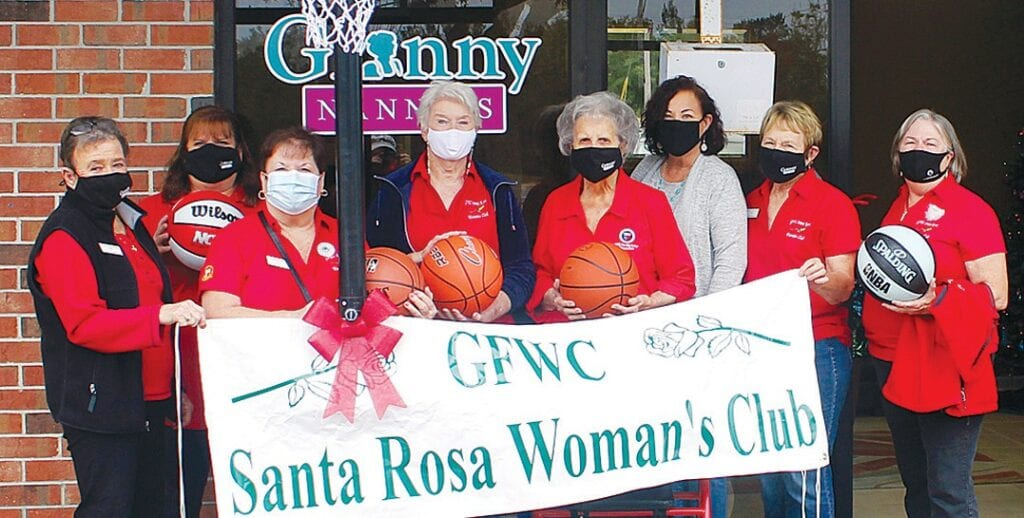GFWC Santa Rosa Woman's Club partnered with Granny Nannies and presented Arc Santa Rosa South participants with a basketball goal, basketballs and lunch from Dickey's Barbecue. Pictured (from left) are Wendy Brandon, Lynda Hyland, Karen Pehek, Martha Brenenstahl, Dorothy Myers, Linda Bozorgnia, Diane Skelton and Cathy Sharp.