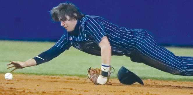 Brandon Hines, shown here keeping a ball on the infield in a recent game, verbally ­commited to Palm Beach State College last week. Jason Thompson/Gulf Breeze News